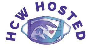 HCW Hosted logo: sketch of a mask with two hands holding a house and a heart